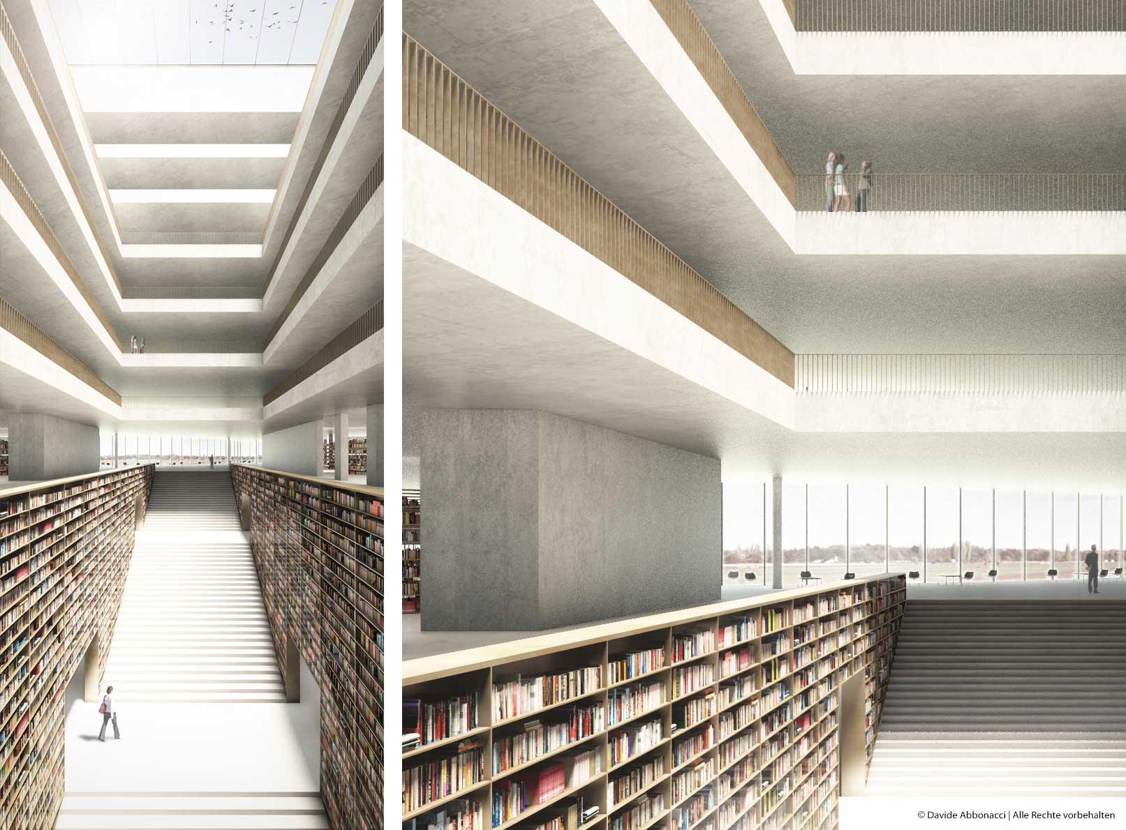 Neubau Zentral- und Landesbibliothek, Berlin Tempelhof-Schöneberg | Max Dudler Architekt | 2013 Wettbewerbsvisualisierung | 3. Preis
