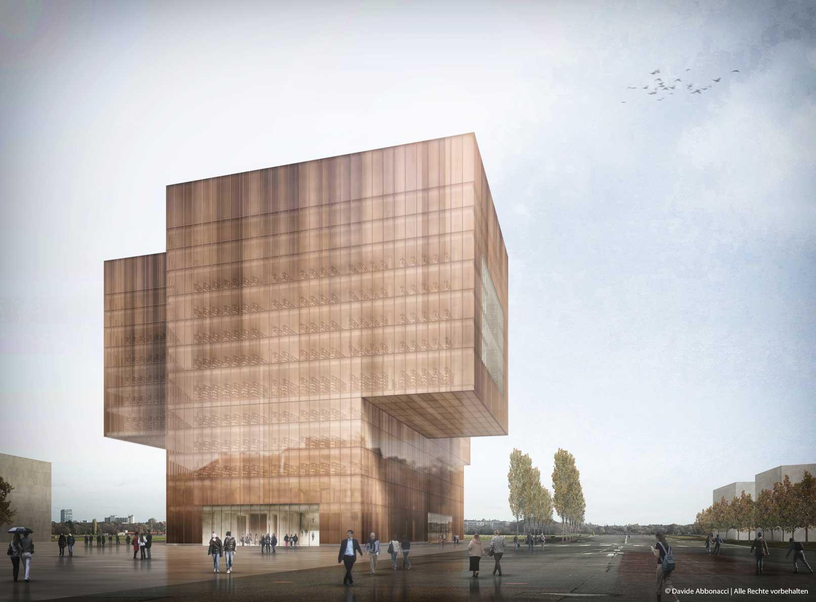 Neubau Zentral- und Landesbibliothek, Berlin Tempelhof-Schöneberg   Max Dudler Architekt   2013 Wettbewerbsvisualisierung   3. Preis