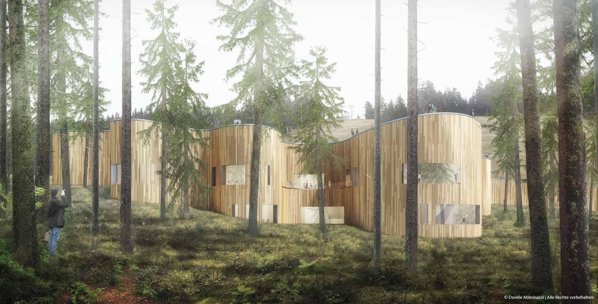 Besucherzentrum für Nationalpark Schwarzwald   Anne Kleinlein Architektin   2015 Wettbewerbsvisualisierung   3. Preis