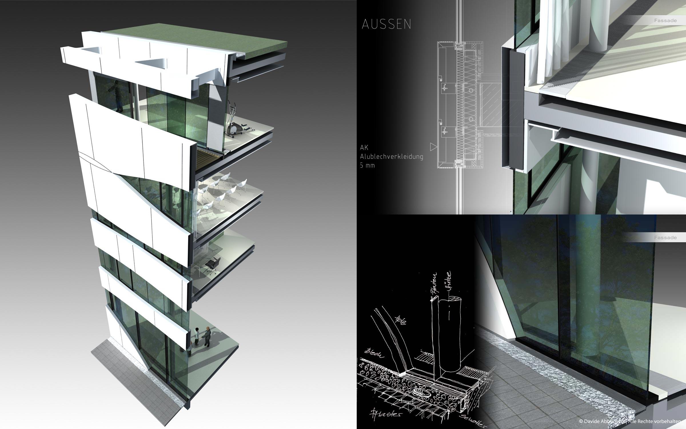 Otto Bock Healthcare, Berlin Mitte | Gnädinger Architekten | 2007 Fassadenstudie und Baudetails