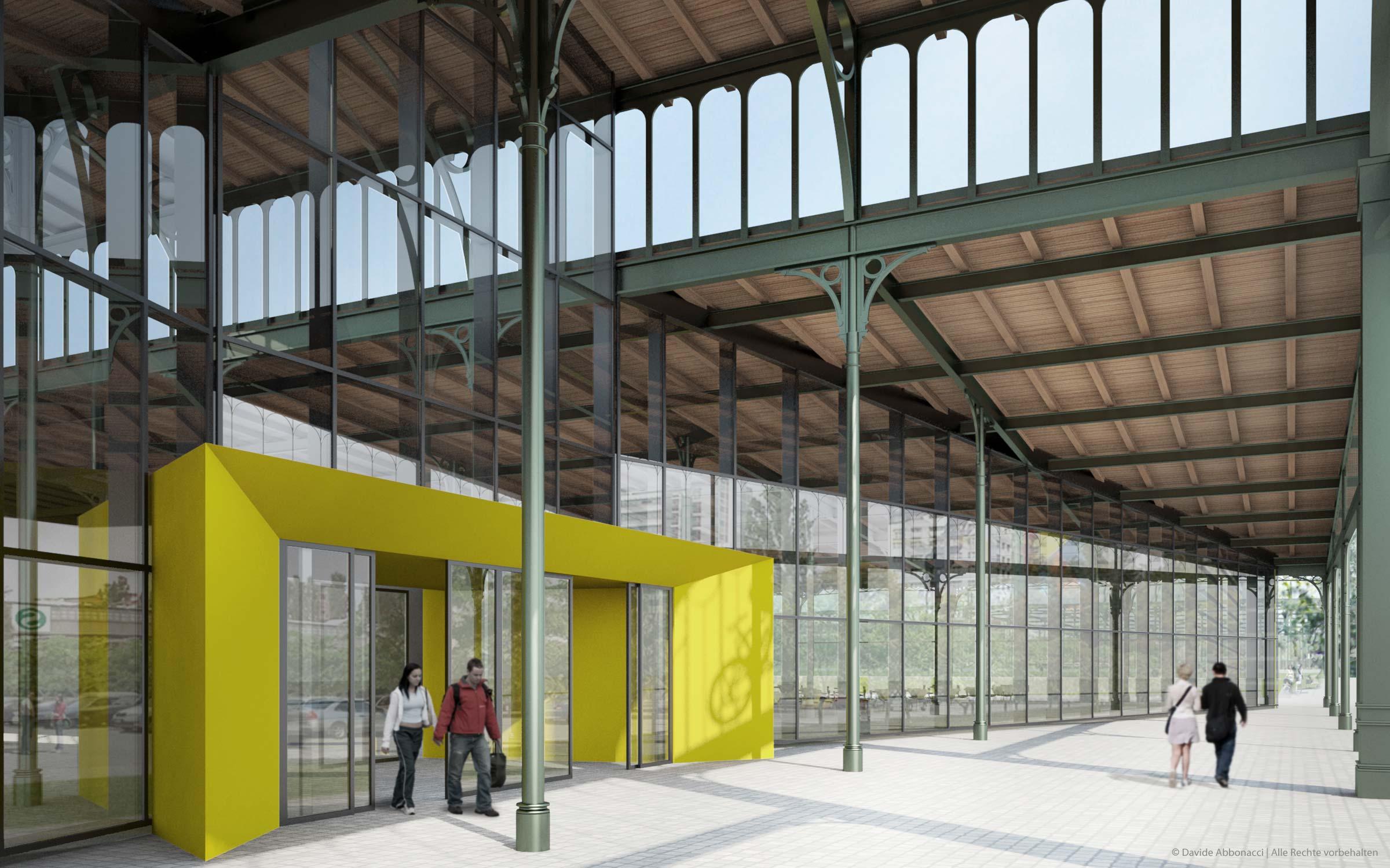 Umbau ehemalige Rinderauktionshalle, Berlin - Prenzlauer Berg | Gnädinger Architekten | 2009 Fassadenstudie und Baudetails