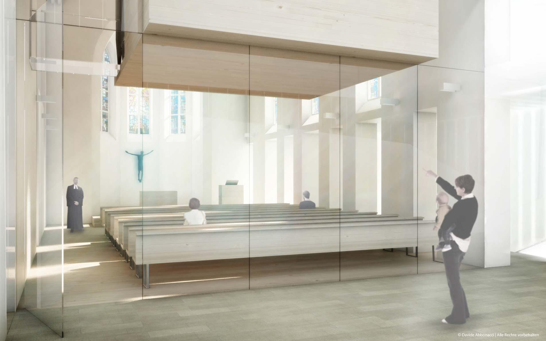 Umgestaltung der Auferstehungskirche, Überlingen   Hübner + Erhard und Partner Architekten   2012 Wettbewerbsvisualisierung