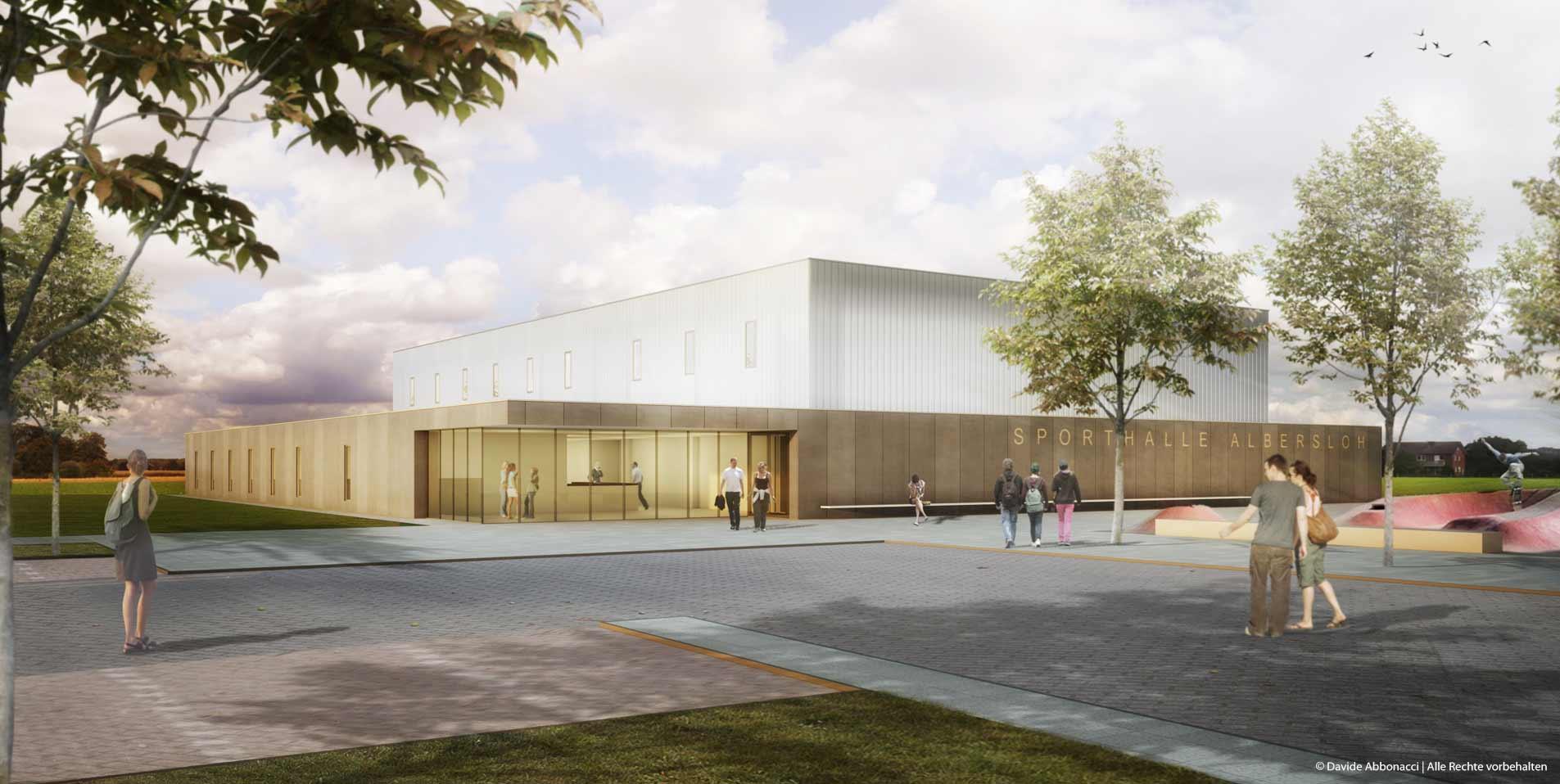 Zweifachsporthalle, Albersloh | Ruf+Partner Architekten | 2012 Wettbewerbsvisualisierung