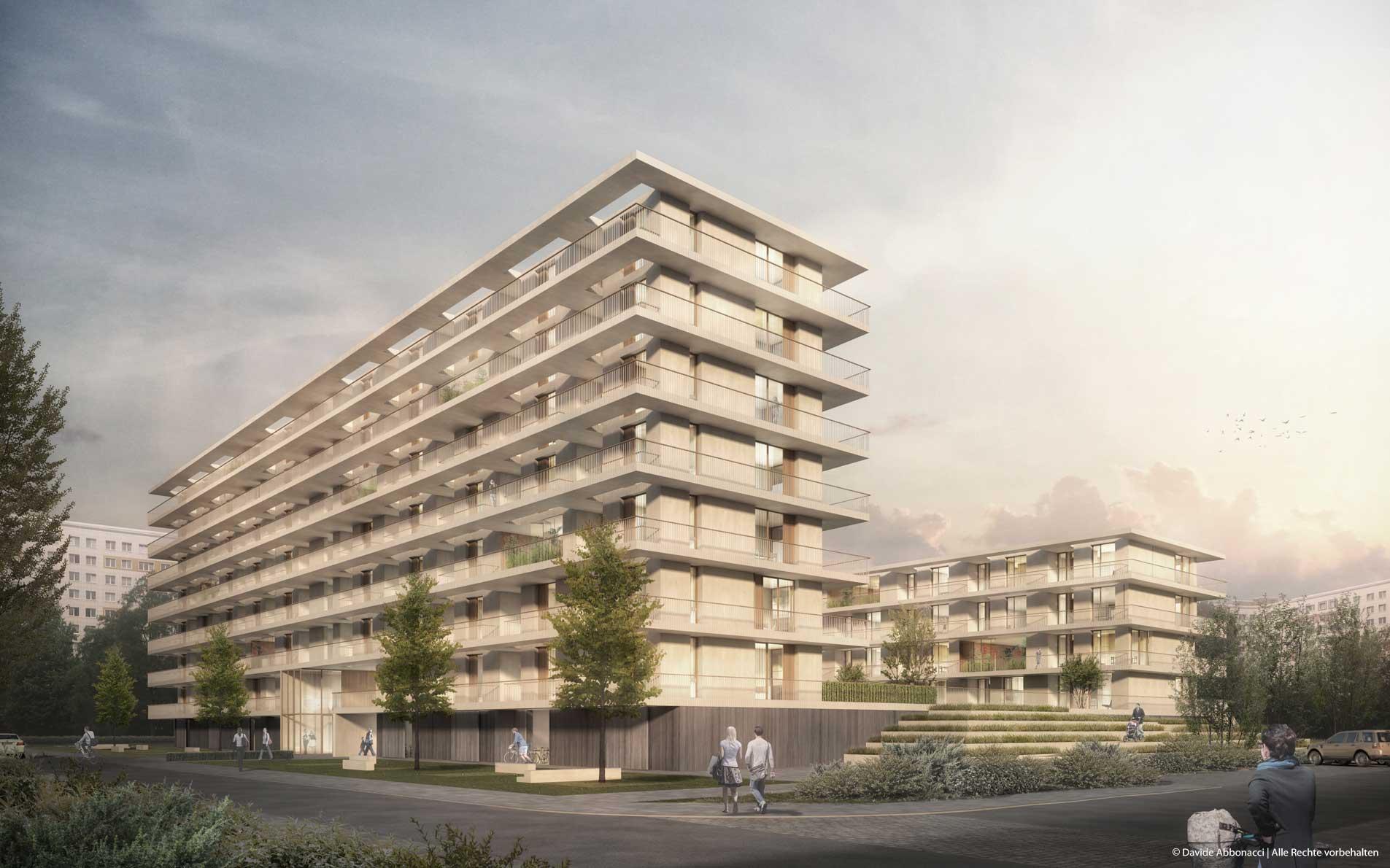 Wohnungsbau Weißenseer Weg 15, Berlin-Weißensee | brh Architekten + Ingenieure | 2015 Wettbewerbsvisualisierung | 1. Preis